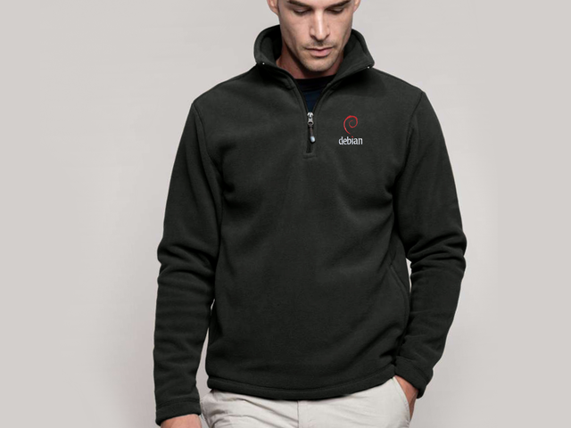 Debian (type 2) pullover jacket (dark grey) - HELLOTUX - Embroidered