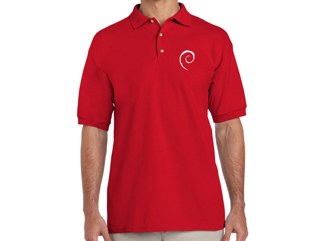 Debian Swirl Polo Shirt (red)