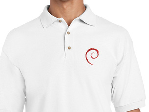 Debian Swirl Polo Shirt (white)
