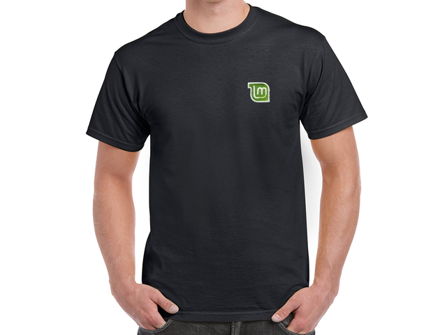 Linux Mint T-Shirt (black) - HELLOTUX - Embroidered Linux t-shirts
