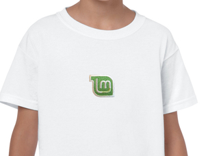 Linux Mint embroidered youth t-shirt (white)