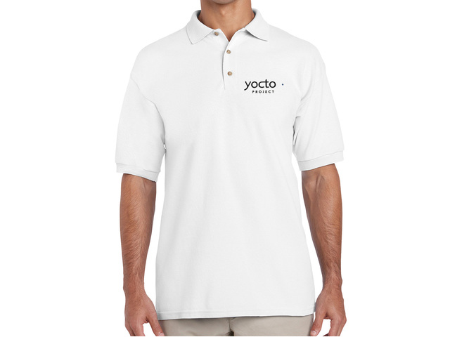 Yocto Project Polo Shirt (white) - HELLOTUX - Embroidered